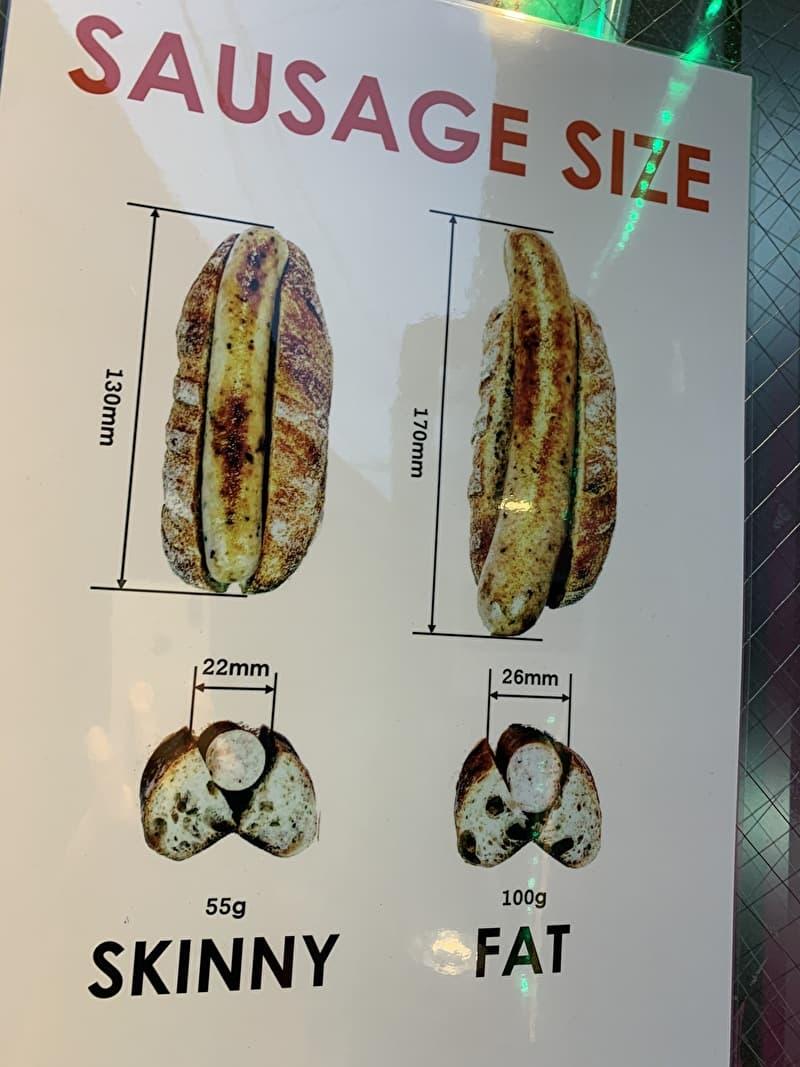 ベルス 中目黒 ホットドック ソーセージの大きさ2種類