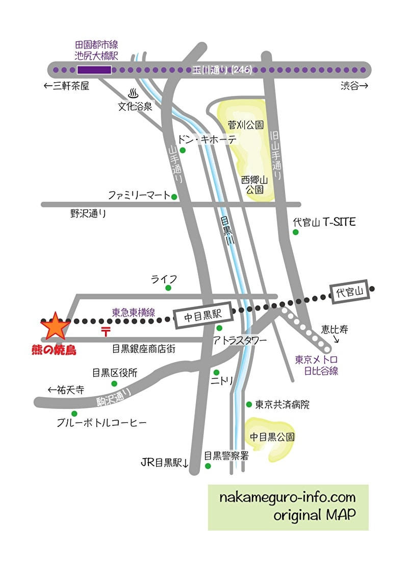 中目黒 熊の焼鳥 行き方 地図
