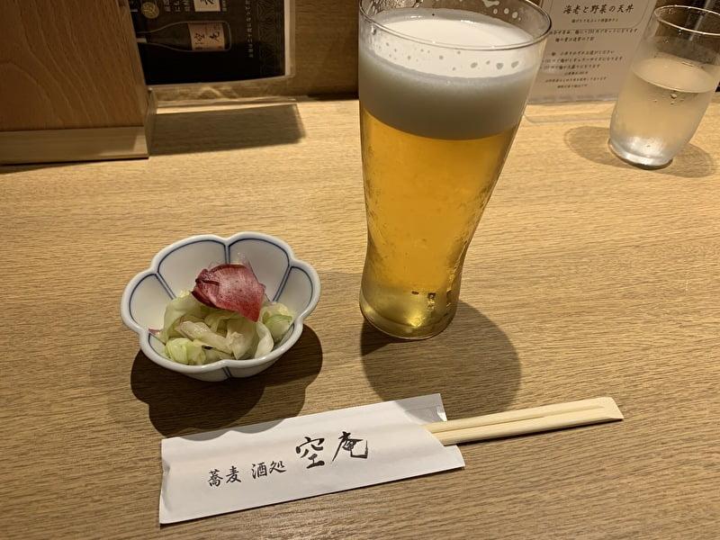 空庵 中目黒 蕎麦 生ビール