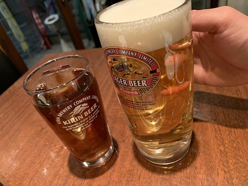 びーふてい 中目黒 焼肉 ビールと黒烏龍茶