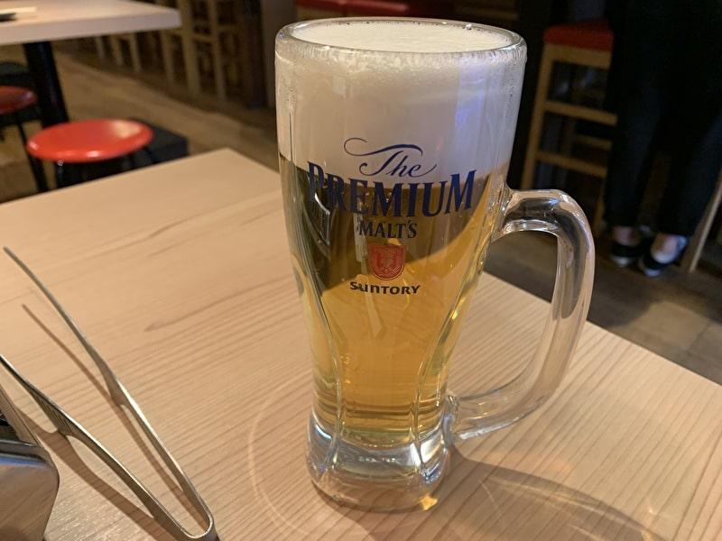 カウンター焼肉 おおにし 祐天寺 生ビール