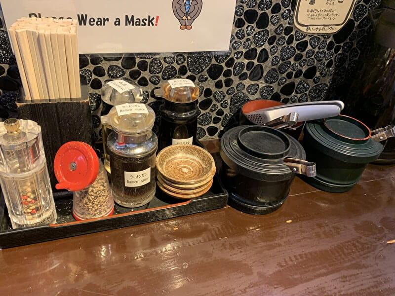 神泉 麺の坊 砦 卓上調味料