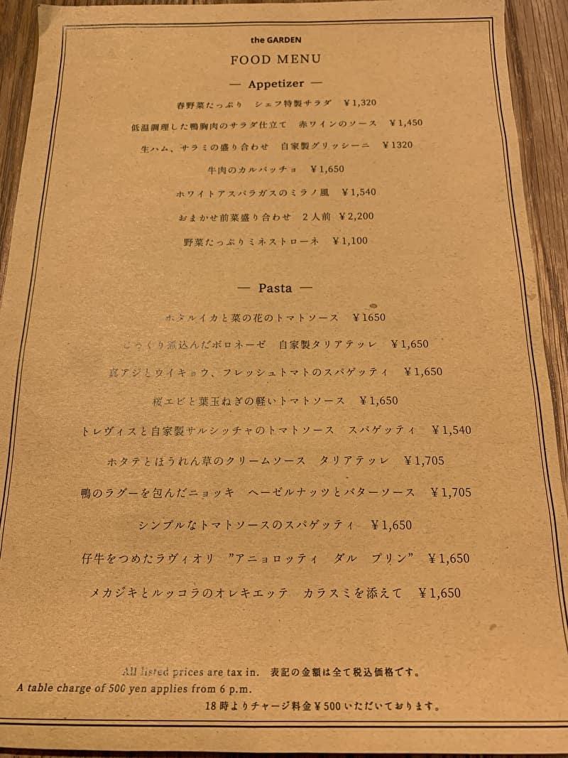 the GARDEN 中目黒 メニュー