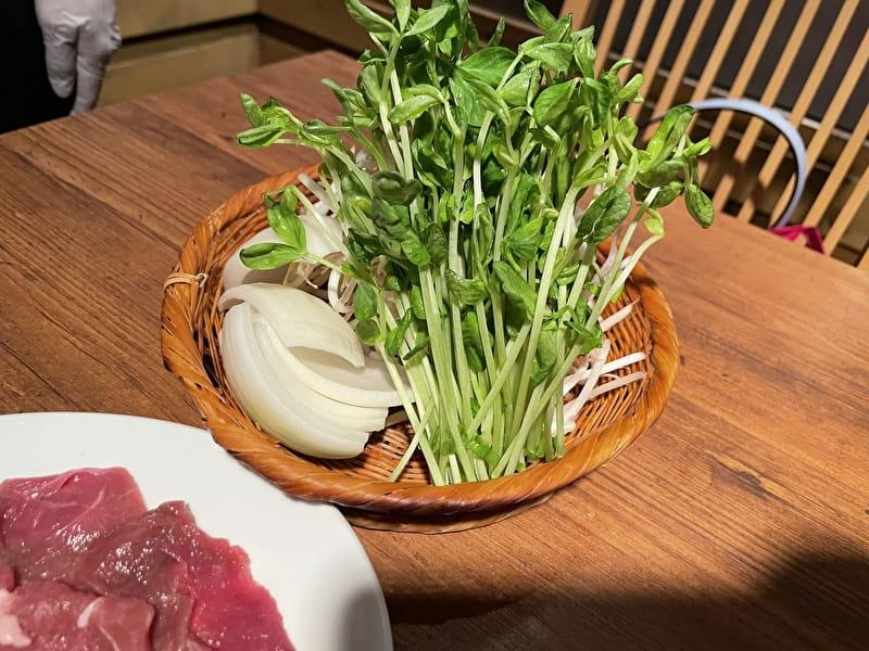 成吉思汗 ふじや 中目黒 ジンギスカンセット 野菜